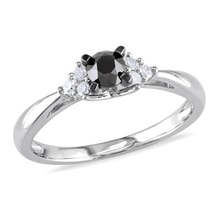 Sterling silver engagement ring with diamonds - Fancy Diamond Engagement Rings