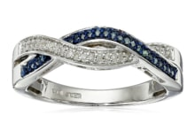 RING WITH BLUE AND WHITE DIAMONDS - STERLING SILVER RINGS - RINGS