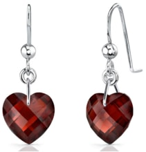 Garnet heart earrings - Fine Jewellery