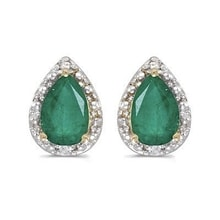 EMERALD EARRINGS WITH DIAMONDS - EMERALD EARRINGS - EARRINGS
