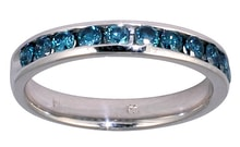 GOLD RING WITH BLUE DIAMONDS - DIAMOND RINGS - RINGS
