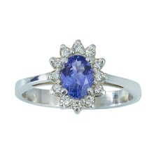 Gold ring with diamonds and tanzanite - Tanzanite rings