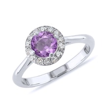 Amethyst and diamond ring in sterling silver - Engagement Halo Rings