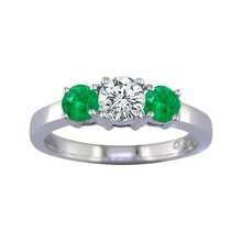 EMERALD RING IN WHITE GOLD WITH DIAMONDS - EMERALD RINGS - RINGS