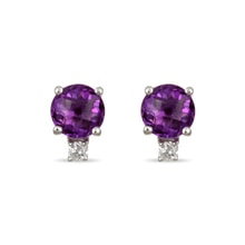 Gold earrings with amethyst and diamonds - Amethyst Earrings