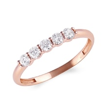 Ring made of pink gold with diamonds - Rings for Her
