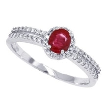 RING MADE OF WHITE GOLD WITH RUBIES AND DIAMONDS - HALO ENGAGEMENT RINGS - ENGAGEMENT RINGS WITH GEMSTONES