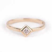 Yellow gold ring with a diamond - Diamond rings
