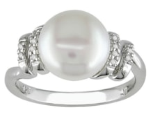 RING WITH FRESHWATER PEARL AND DIAMONDS - PEARL RINGS - PEARLS