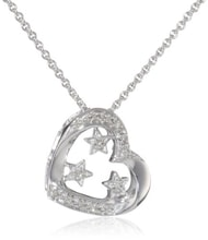 STERLING SILVER PENDANT WITH MANY DIAMONDS - HEART PENDANTS - PENDANTS