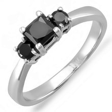 GOLDEN RING WITH BLACK DIAMONDS - DIAMOND RINGS - RINGS