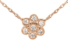 ROSE GOLD NECKLACE WITH DIAMOND FLOWER - DIAMOND PENDANTS - PENDANTS