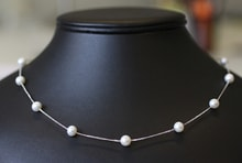 WHITE GOLD NECKLACE WITH PEARLS. - PEARL NECKLACE - PEARLS
