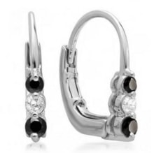 EARRINGS WITH BLACK AND WHITE DIAMONDS - DIAMOND EARRINGS - EARRINGS