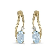 GOLD AQUAMARINE EARRINGS WITH DIAMONDS - GOLD EARRINGS - EARRINGS