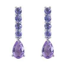 EARRINGS WITH AMETHYST AND TANZANITE - AMETHYST EARRINGS - EARRINGS