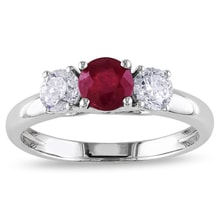 WHITE GOLD RING WITH A RUBY ​​AND DIAMONDS - RUBY RINGS - RINGS
