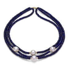 NECKLACE MADE OF BLUE LAPIS AND FRESHWATER PEARLS - JEWELLERY BY GEMSTONE