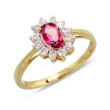 Gold ring with pink topaz and brilliants - Halo engagement rings