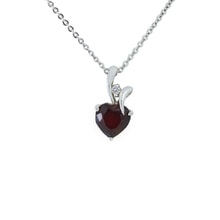 DARK RED GARNET PENDANT HEARTS DIAMOND INLAID IN WHITE GOLD. - WHITE GOLD PENDANTS - PENDANTS