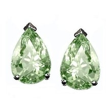 EARRINGS TEARDROP WITH GREEN AMETHYST - AMETHYST EARRINGS - EARRINGS