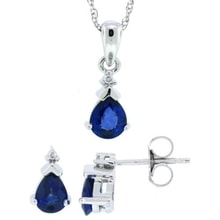 NECKLACE AND EARRINGS WHITE GOLD SAPPHIRES SET - EARRING SETS - EARRINGS