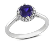 GOLD RING WITH SAPPHIRES AND DIAMONDS - HALO ENGAGEMENT RINGS - ENGAGEMENT RINGS WITH GEMSTONES