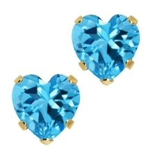 TOPAZ HEART EARRINGS - TOPAZ EARRINGS - EARRINGS