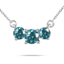 NECKLACE MADE OF WHITE GOLD WITH BLUE DIAMONDS - DIAMOND PENDANTS - PENDANTS