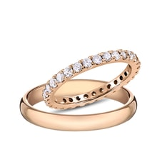 Wedding rings in pink gold, diamonds - Rose Gold Rings