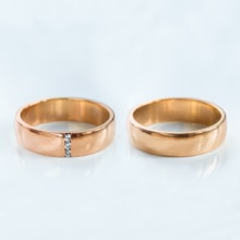 Rose gold wedding rings with three diamonds - Rose gold wedding Rings