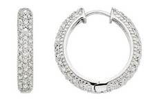 SILVER EARRINGS WITH DIAMONDS - DIAMOND EARRINGS - EARRINGS