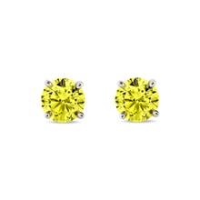 Diamond earrings with yellow diamonds, 14K gold - Stud earrings