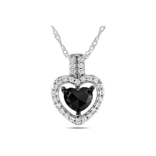Black diamond heart necklace in 14kt gold - Diamond Pendants
