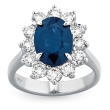 SAPPHIRE RING WITH DIAMONDS IN WHITE GOLD - HALO ENGAGEMENT RINGS - ENGAGEMENT RINGS