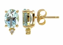 GOLD EARRINGS WITH AQUAMARINES AND DIAMONDS - AQUAMARINE EARRINGS - EARRINGS