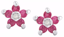 Ruby earrings flowers - Fine Jewellery