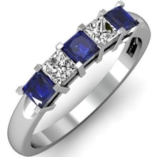 WEDDING RING IN A COMBINATION OF DIAMONDS AND SAPPHIRES IN WHITE GOLD - SAPPHIRE RINGS - RINGS