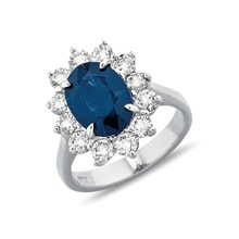 Sapphire and diamond ring in 14kt white gold - Engagement Halo Rings