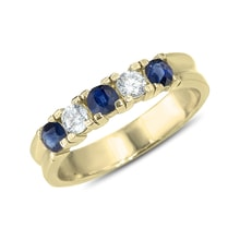 Gold ring with sapphires and diamonds - Sapphire rings