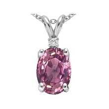NECKLACE WITH PINK TOURMALINE AND DIAMONDS - WHITE GOLD PENDANTS - PENDANTS