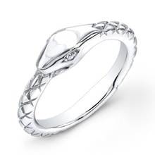 SILVER RING WITH DIAMOND - DIAMOND RINGS - RINGS