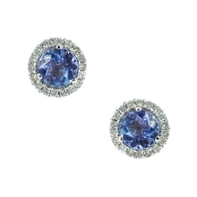 EARRINGS MADE OF WHITE GOLD WITH DIAMONDS AND TANZANITE - WHITE GOLD EARRINGS - EARRINGS