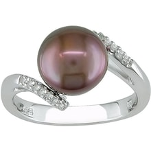 SILVER RING WITH BROWN PEARL AND DIAMONDS - PEARL RINGS - PEARLS