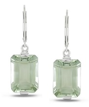 SILVER EARRINGS WITH GREEN AMETHYST - AMETHYST EARRINGS - EARRINGS