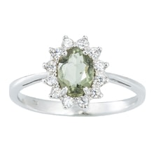 SILVER RING WITH MOLDAVITE AND CZ - STERLING SILVER RINGS - RINGS