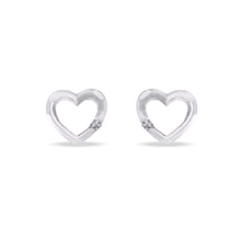 Heart earrings in 14kt gold - Diamond Earrings