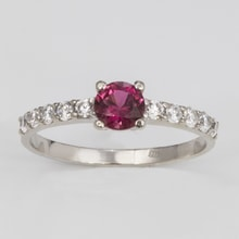 SILVER RING WITH PINK TOURMALINE AND ZIRCON - STERLING SILVER RINGS - RINGS