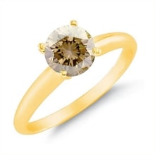 GOLDEN RING WITH BROWN DIAMOND - ENGAGEMENT RINGS WITH COLOURED DIAMANTÉ - ENGAGEMENT RINGS WITH GEMSTONES