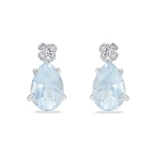 White gold aquamarine earrings with diamond - Aquamarine earrings